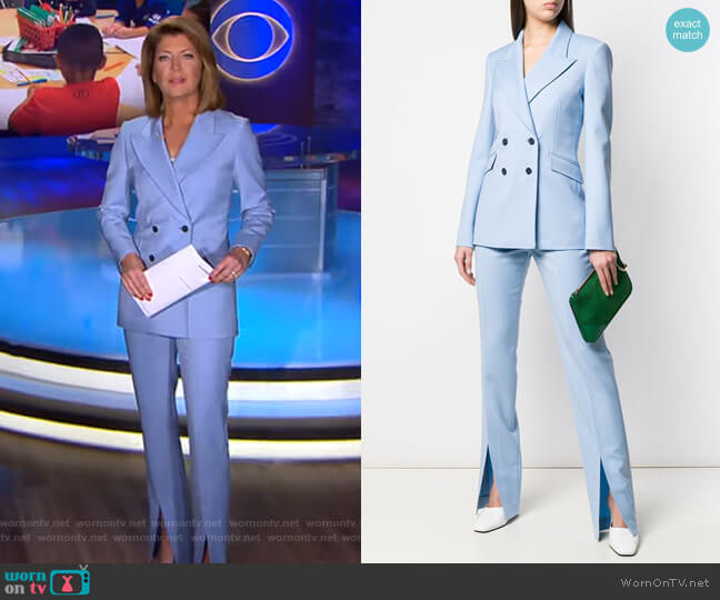 Classic Double-Breasted Blazer and Front Slit Trousers by Gabriela Hearst worn by Norah O'Donnell  on CBS Evening News
