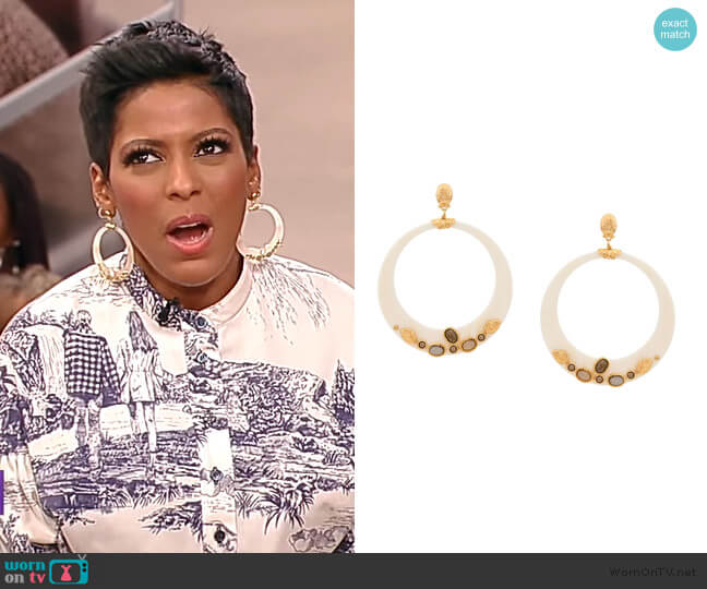 Hoop Earrings by Gas Bijoux worn by Tamron Hall  on Tamron Hall Show