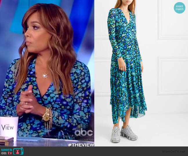 Floral-print stretch-mesh wrap midi dress by Ganni worn by Sunny Hostin  on The View