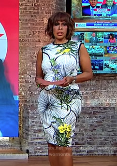 Gayle's white floral sleeveless dress on CBS This Morning