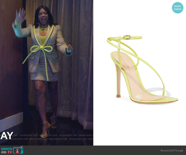 Patent Clear-Strap Asymmetric Sandals by Gianvito Rossi worn by Cookie Lyon (Taraji P. Henson) on Empire