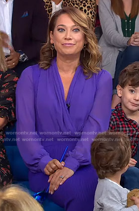 Ginger's purple wrap blouse and pencil skirt on Good Morning America
