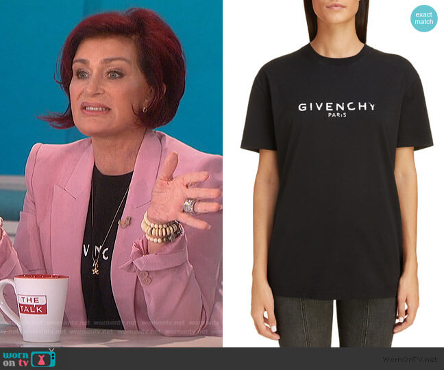 Logo Oversize Tee by Givenchy worn by Sharon Osbourne  on The Talk