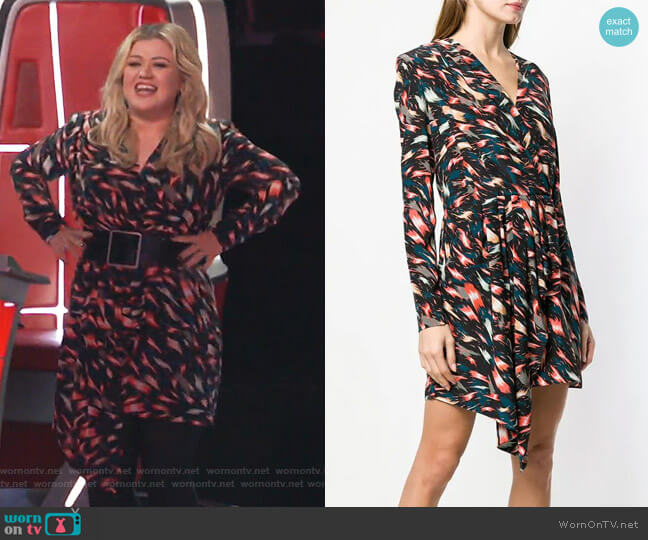 Asymmetric Printed Dress by Givenchy worn by Kelly Clarkson  on The Voice