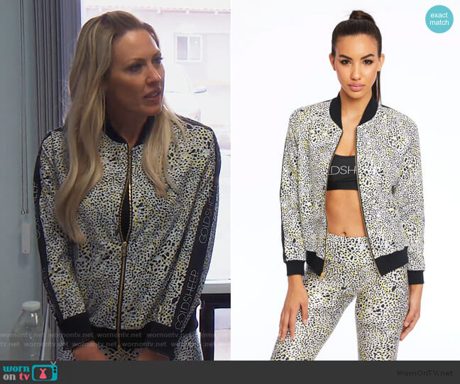Leopard Spot Bomber Jacket by Gold Sheep Clothing worn by Braunwyn Windham-Burke  on The Real Housewives of Orange County