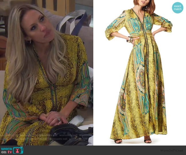 Printed V-neck Long Sleeves Maxi Dress by Gracia worn by Braunwyn Windham-Burke  on The Real Housewives of Orange County