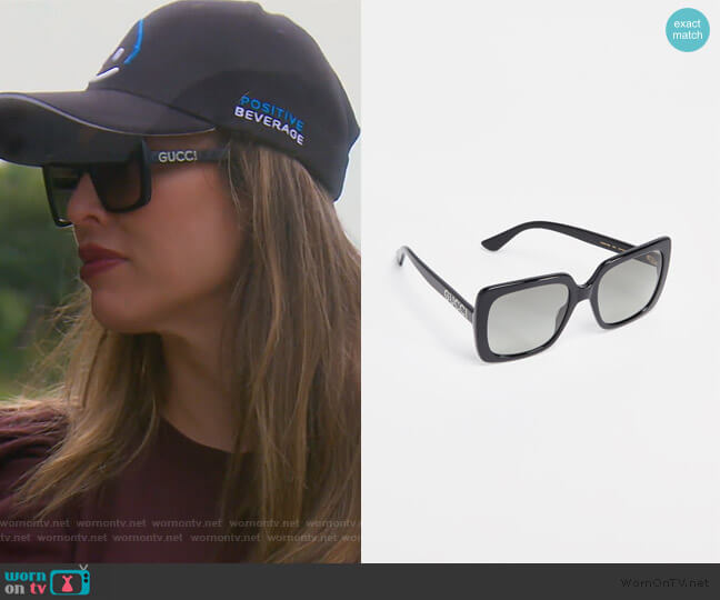 Acetate Square Sunglasses by Gucci worn by Kelly Dodd  on The Real Housewives of Orange County