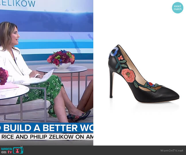 Ophelia Floral-embroidered Leather Pump by Gucci worn by Savannah Guthrie  on Today