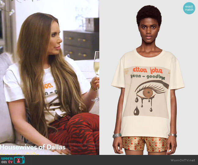 Gucci Elton John T-shirt by Gucci worn by LeeAnne Locken  on The Real Housewives of Dallas