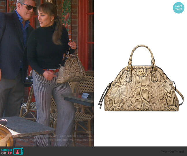 Genuine Python Satchel by Gucci worn by Kelly Dodd  on The Real Housewives of Orange County