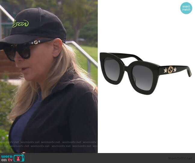 Rectangle Acetate GG Sunglasses by Gucci worn by Shannon Beador  on The Real Housewives of Orange County