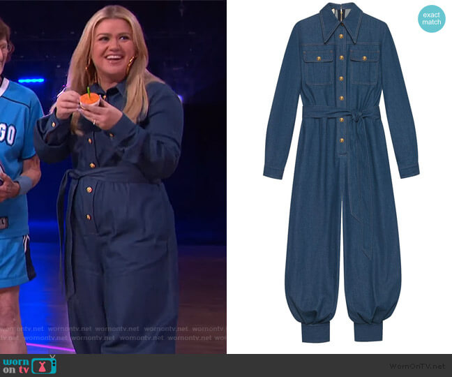 Belted Denim Jumpsuit by Gucci worn by Kelly Clarkson  on The Kelly Clarkson Show
