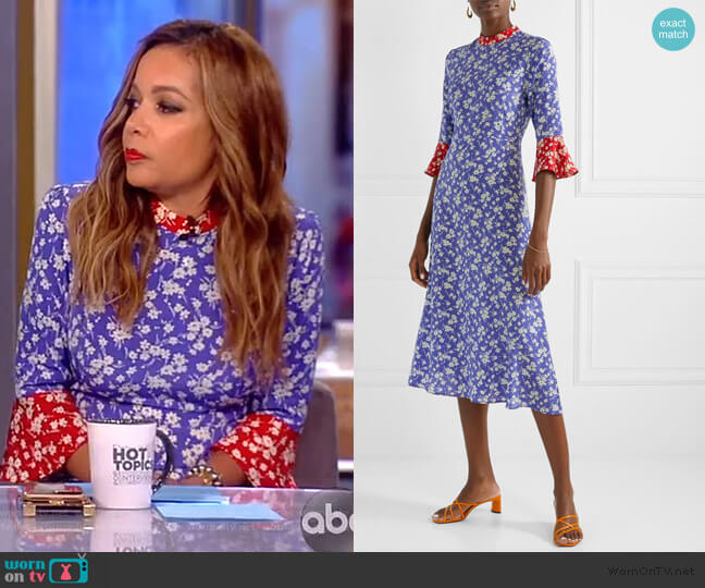 Ashley floral-print silk crepe de chine midi dress by HVN worn by Sunny Hostin  on The View