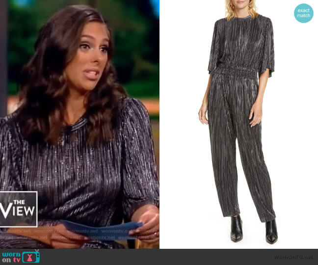Chimbote Pleated Metallic Jumpsuit by IRO worn by Abby Huntsman  on The View
