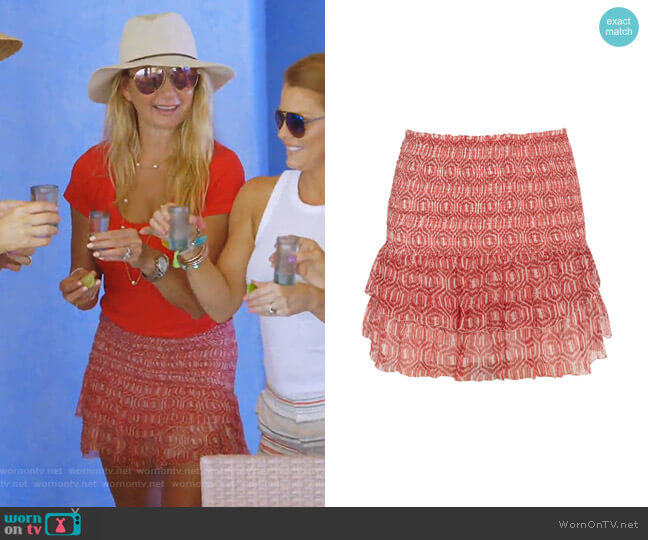 Zelia Printed Mini Skirt by Isabel Marant Etoile worn by Kary Brittingham  on The Real Housewives of Dallas