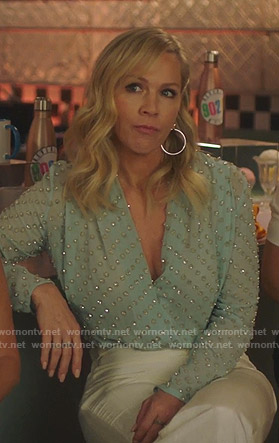 Jennie's green embellished wrap top on BH90210