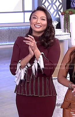 Jeannie's marlot fringed top and skirt on The Real