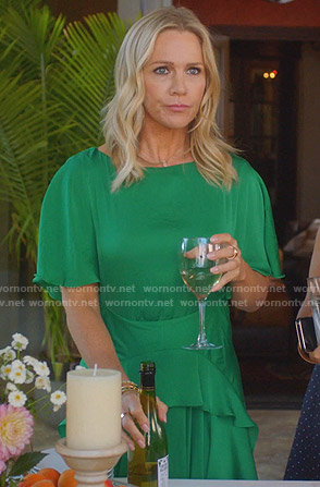 Jennie's green ruffled maxi dress on BH90210