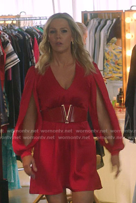 Jennie's red slit-sleeve dress on BH90210
