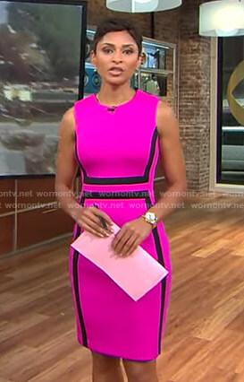Jericka's pink sleeveless sheath dress on CBS This Morning