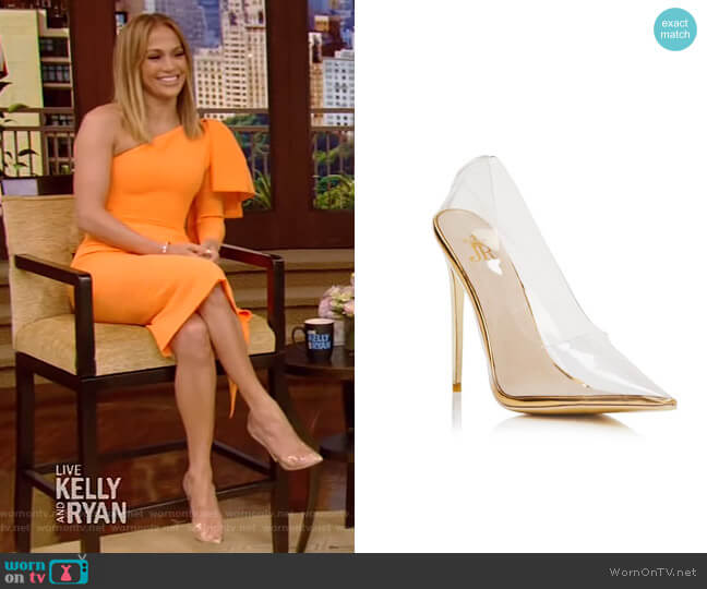 Fancy Stiletto Gold Pumps by Jessica Rich worn by Jennifer Lopez on Live with Kelly and Ryan