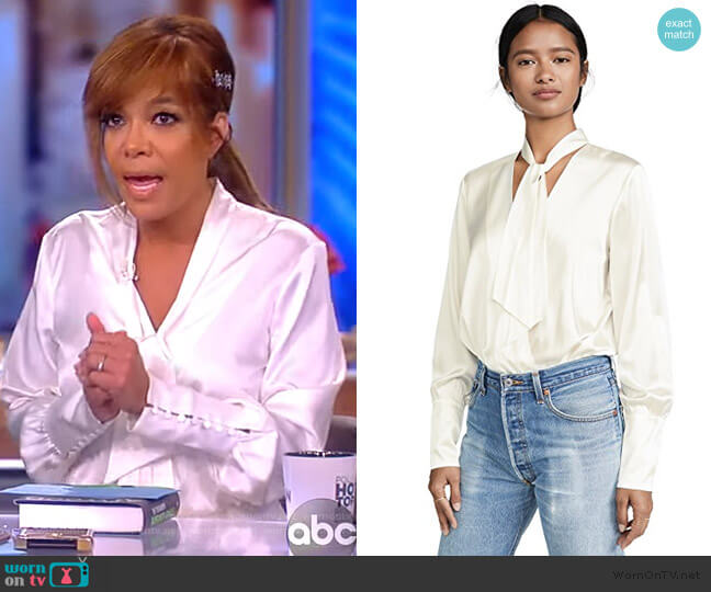Charmeuse Wrap Front Bodysuit by Jonathan Simkhai worn by Sunny Hostin  on The View