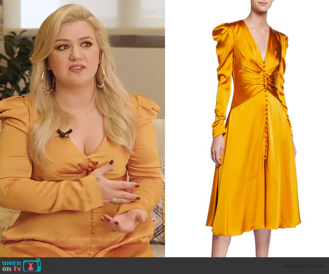 Ruched-Front V-Neck Long-Sleeve Sateen Dress by Jonathan Simkhai worn by Kelly Clarkson  on The Kelly Clarkson Show