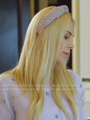 Kameron's lilac embellished sweater and headband on The Real Housewives of Dallas