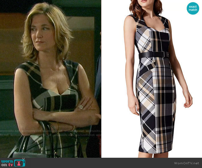 Karen Millen Belted Check Sheath Dress worn by Eve Donovan (Kassie DePaiva) on Days of our Lives