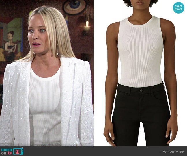 Karen Millen Rib Knit Tank  worn by Sharon Collins (Sharon Case) on The Young & the Restless