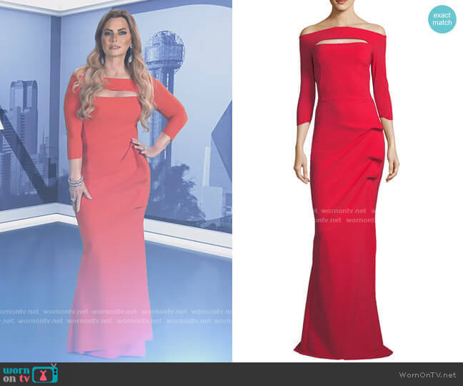 Kate Long-Sleeve Gathered Trumpet Evening Gown by Chiara Boni La Petite Robe worn by D'Andra Simmons  on The Real Housewives of Dallas