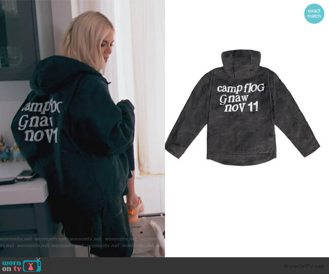 Kids See Ghosts KSG Washed Hooded Jacket by Kanye West worn by Khloe Kardashian  on Keeping Up with the Kardashians
