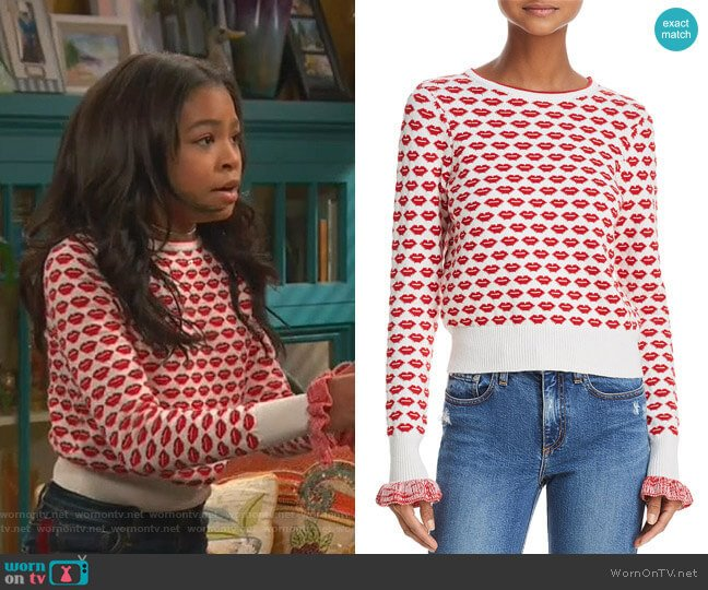 Kiss Print Sweater by French Connection worn by Nia Baxter (Navia Robinson) on Ravens Home