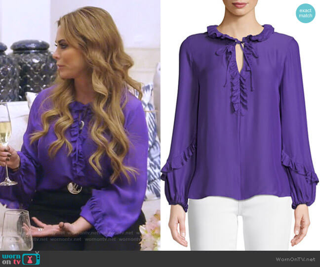 Angie Ruffle-Neck Blouse by Kobi Halperin worn by D'Andra Simmons  on The Real Housewives of Dallas