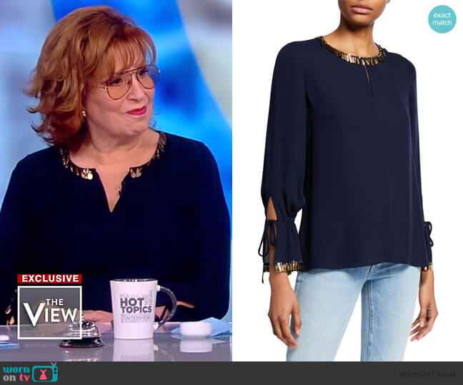 Juliette Embellished Silk Georgette Blouse by Kobi Halperin worn by Joy Behar  on The View