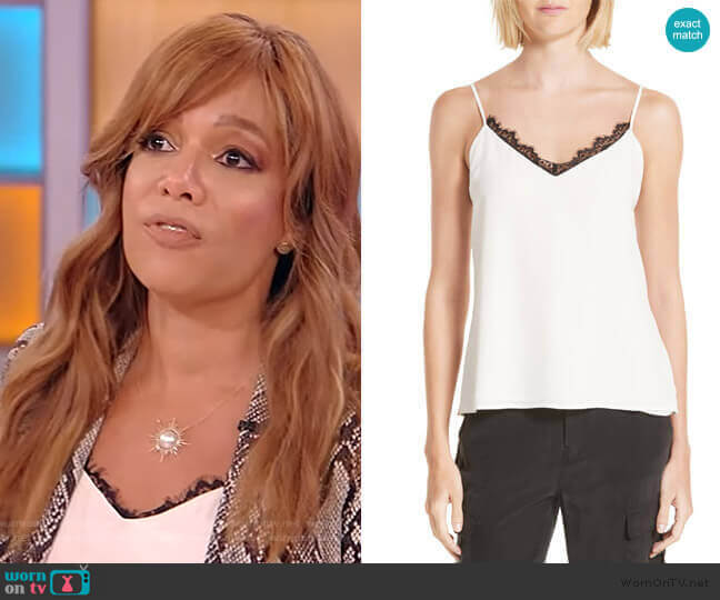 Lia Lace Trim Silk Camisole by L'Agence worn by Sunny Hostin on the Tamron Hall Show