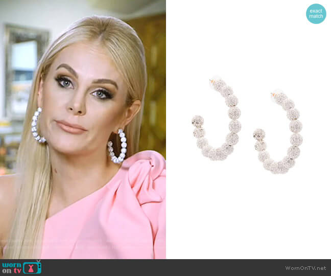 Stardust Crystal Hoop Earrings by Lele Sadoughi worn by Kameron Westcott  on The Real Housewives of Dallas