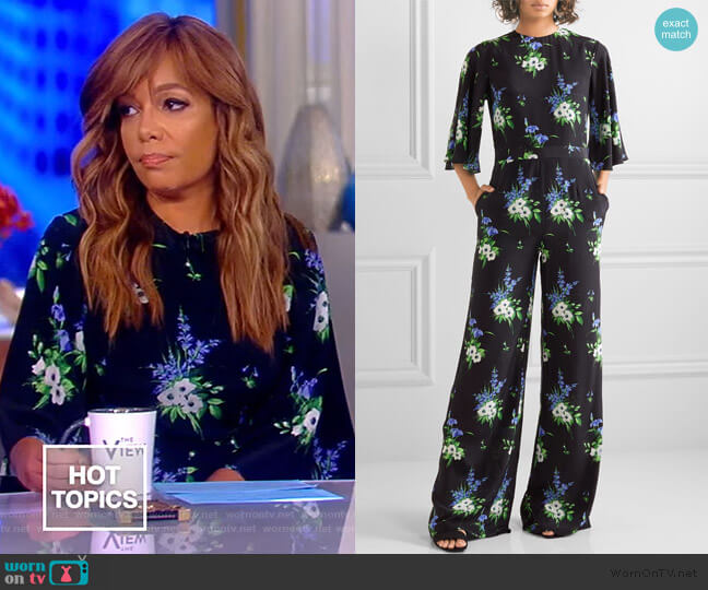Floral-print silk crepe de chine jumpsuit by Les Reveries worn by Sunny Hostin  on The View