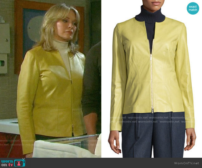 Lafayette 148 New York Maris Leather Jacket worn by Marlena Evans (Deidre Hall) on Days of our Lives