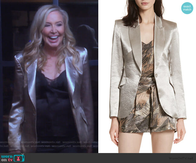Chamberlain Metallic Blazer by L'Agence worn by Shannon Beador  on The Real Housewives of Orange County