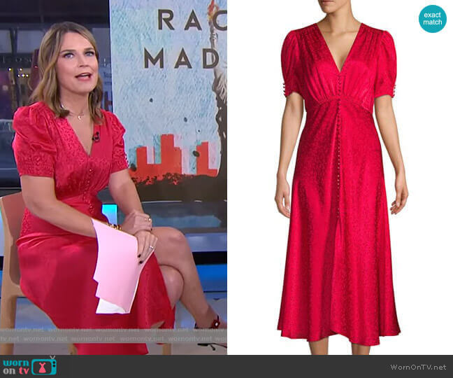 Lea Floral Silk Jacquard A-Line Dress by Saloni worn by Savannah Guthrie  on Today