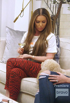 LeeAnne's print tee and red zebra pants on The Real Housewives of Dallas