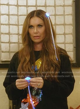 LeeAnne's black sequined star sweatshirt on The Real Housewives of Dallas
