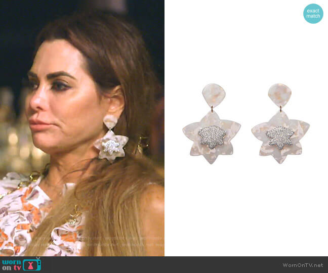 Crystal Star Drop Earrings by Lele Sadoughi worn by D'Andra Simmons  on The Real Housewives of Dallas