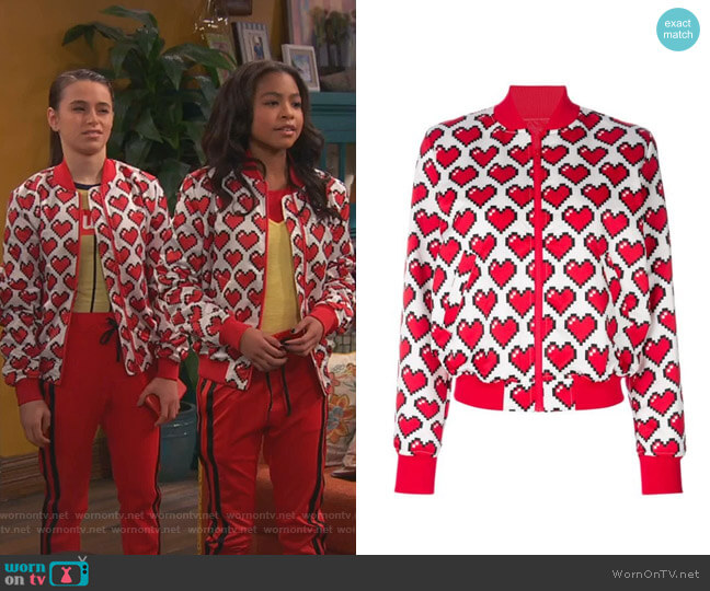 Allover Heart Print Bomber Jacket by Love Moschino worn by Nia Baxter (Navia Robinson) on Ravens Home