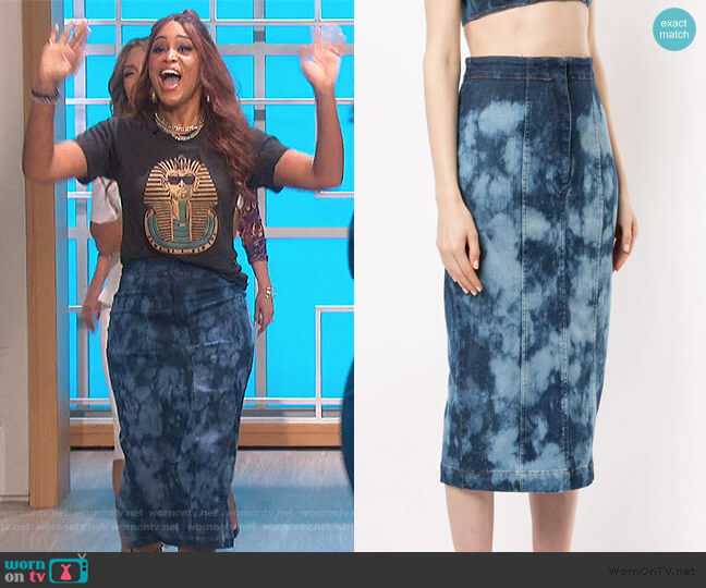tie-dye denim skirt by Manning Cartell worn by Eve  on The Talk