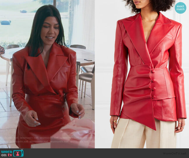 Belted faux leather blazer by Materiel worn by Kourtney Kardashian  on Keeping Up with the Kardashians