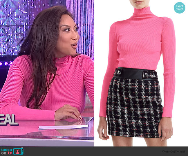 Malangou Ribbed Turtleneck Sweater by Maje worn by Jeannie Mai  on The Real