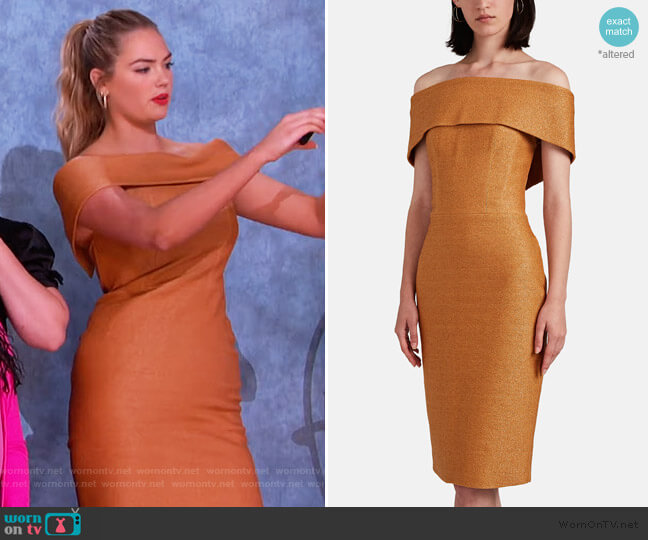 Golden Ticket Cloqué Off-The-Shoulder Dress by Manning Cartell worn by Kate Upton on The Kelly Clarkson Show