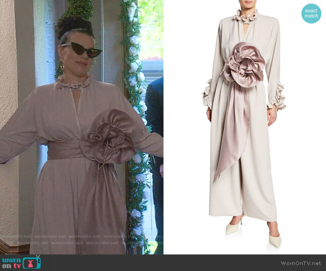 Rosette Crepe Jersey Jumpsuit by Marc Jacobs worn by Maggie (Debi Mazar) on Younger
